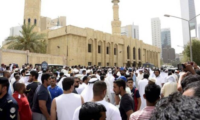 la mosquée Imam al Sadek dans le quartier de Sawaber dans la partie orientale de Koweït City. 'attentat à la bombe commis vendredi contre une mosquée chiite et qui a fait 27 morts dans la capitale de l'émirat © Reuters.