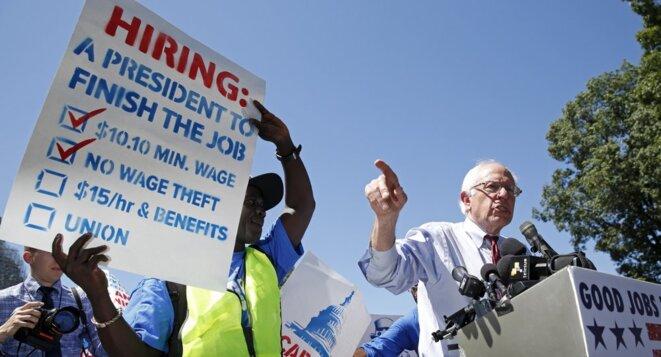 Bernie Sanders en meeting à Washington, le 22 juillet 2015.