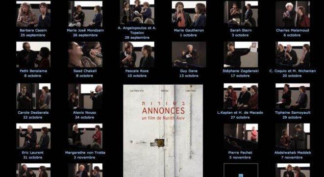 Page du site de Nurith Aviv où apparaissent les vidéos des rencontres filmées.