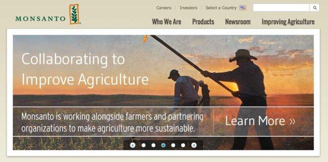 Capture d'écran sur le site de Monsanto