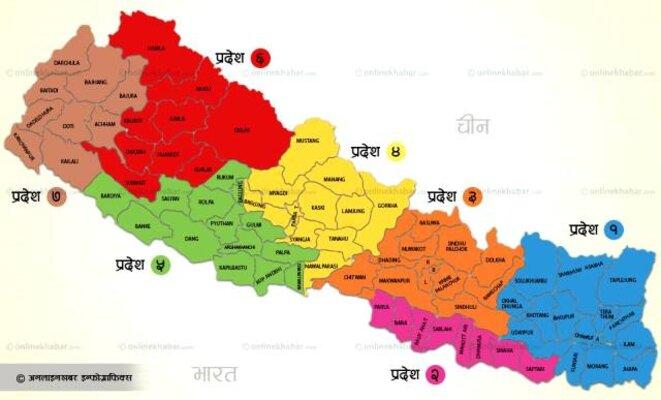 Une carte des sept provinces publiée par le Nepal Mountain News. © Nepal Mountain News