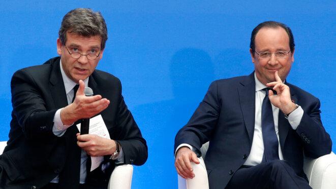 Arnaud Montebourg et François Hollande, en mai 2014. © Reuters