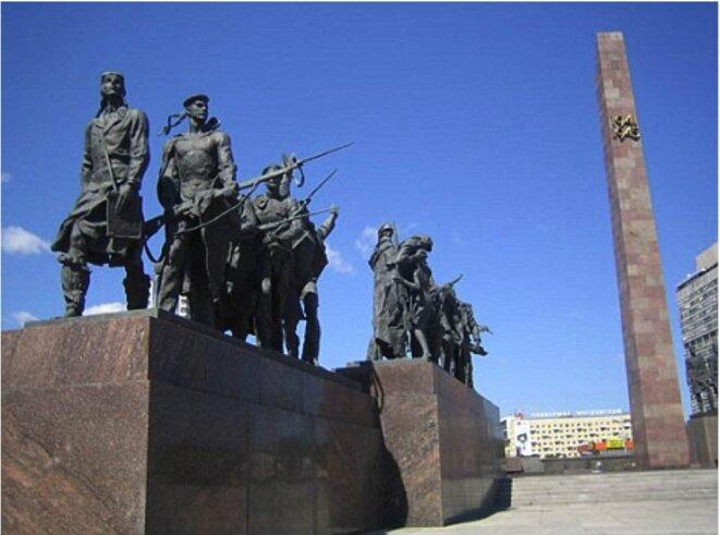Le complexe du monument-musée pour les « Défenseurs Héroïques de Leningrad » Place de la Victoire à St Petersburg. Contrairement © KA