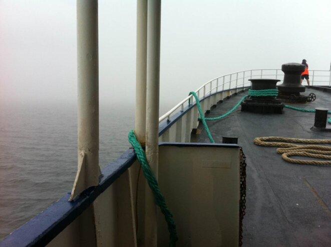 A bord du ferry, dans le détroit de Long Island.