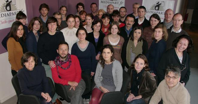 L'équipe de Mediapart en mars 2012.