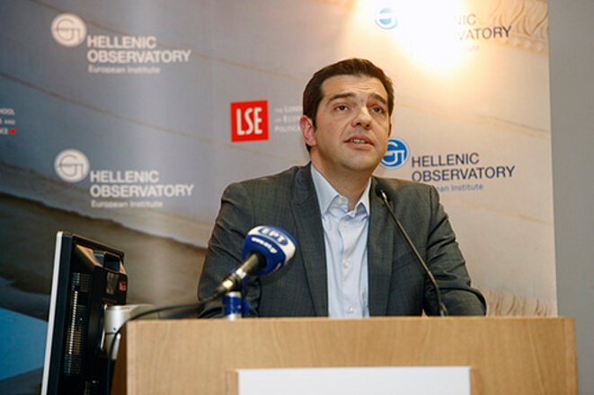 Alexis Tsipras, le 14 mars 2013 devant la London School of economics.