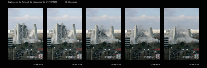 Implosion tripode le 27 février 2005 © Marie-Claude Villeneuve
