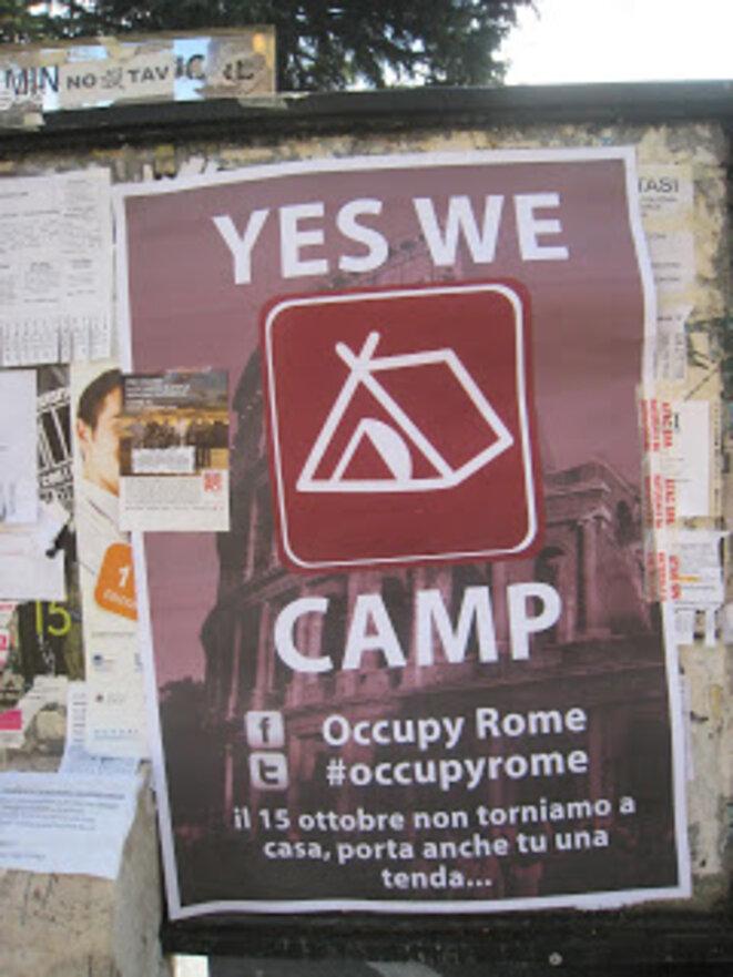 A lire sur le soutient européen à Occupy Wall street http://romethesecondtime.blogspot.fr/2011/10/indignant-ones-rome-joins-wall-street.html et le mouvement Yes We Camp ©  Dianne Bennett and William Graebner