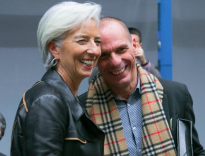 Christine Lagarde (FMI) et Yanis Varoufakis, ministre des finances grec, à leur arrivée à l'Eurogroupe, mercredi, à Bruxelles