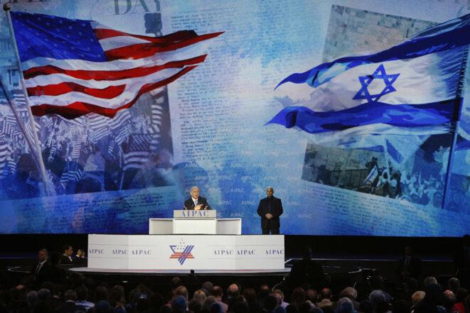 Netanyahou devant l'Aipac, le 2 mars 2015