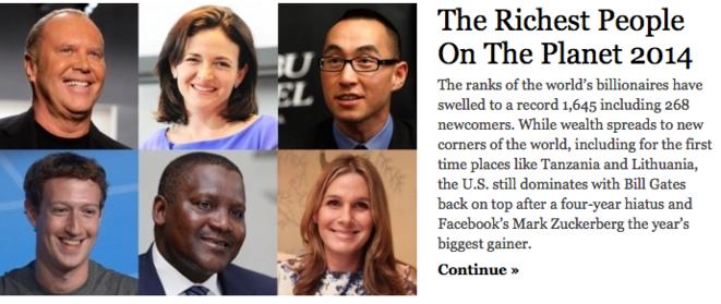 Le classement 2014 des milliardaires de Forbes