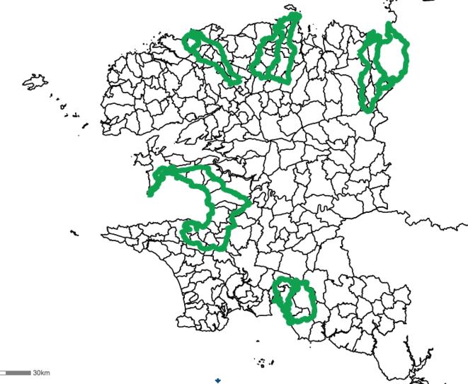 Les huit bassins versants algues vertes