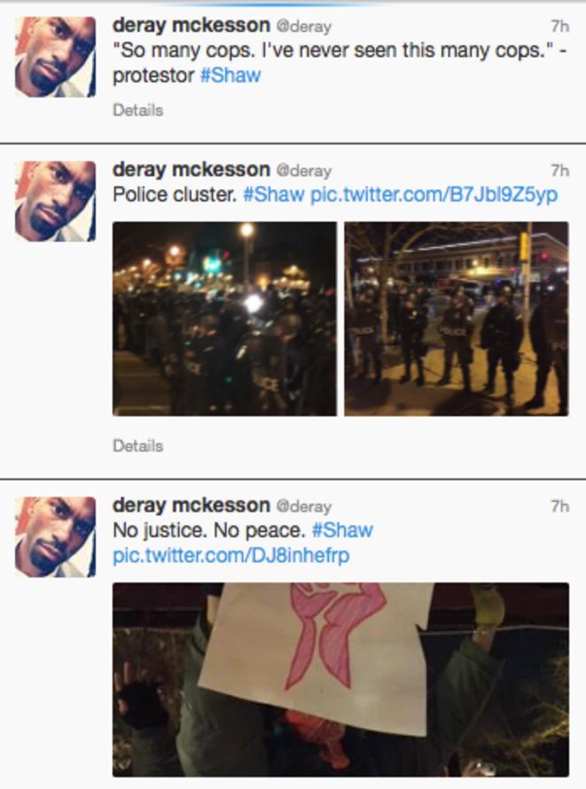 Une série de tweets dans la nuit de Deray Mckesson (@deray) présent sur place et membre du site noindictment.org