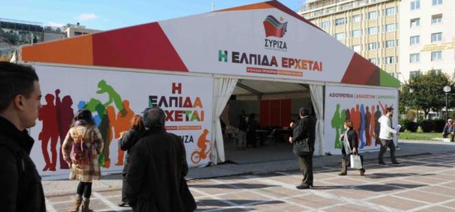 Le kiosque central de Syriza à Athènes