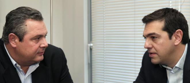 Panos Kammenos et Alexis Tsipras ont conclu ce lundi 26 janvier leur participation commune dans un gouvernement © Reuters