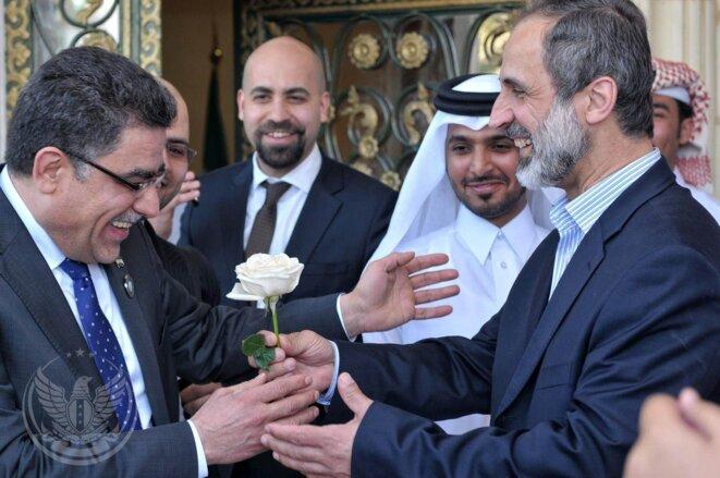 Ghassan Hitto et Mouaz al-Khatib à Doha