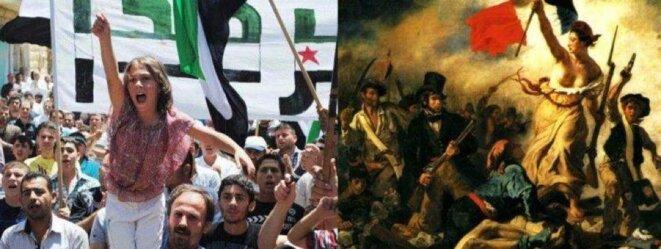 A gauche : manifestants à Sarmada en Syrie - A droite : la Liberté guidant le peuple de Delacroix