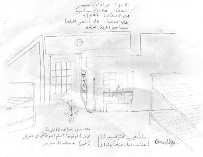 Dessin de Samir Bradley pour montrer ses conditions de détentions