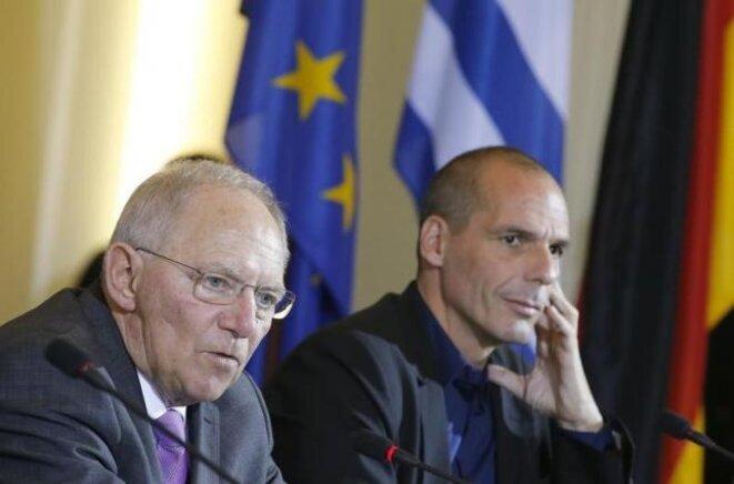 Wolfgang Schäuble et Yanis Varoufakis