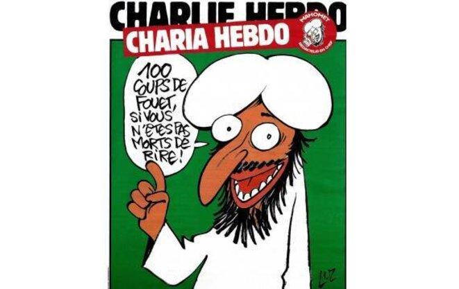 La couverture de Charlie Hebdo, rebaptisé Charia Hebdo