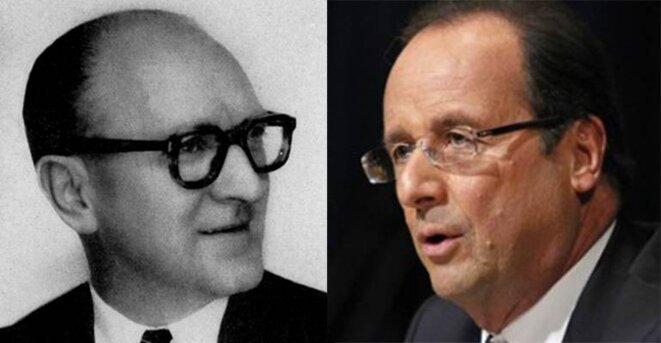 Guy Mollet et François Hollande