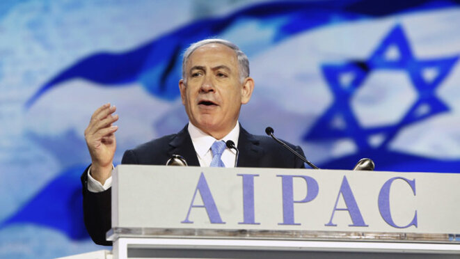 Benjamin Netanyahou devant l'Aipac, le 2 mars 2015