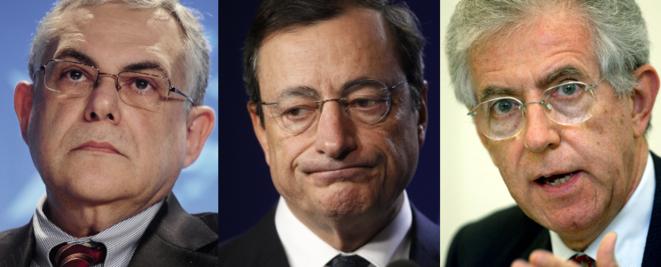 Lucas Papademos, Mario Draghi et Mario Monti © Reuters