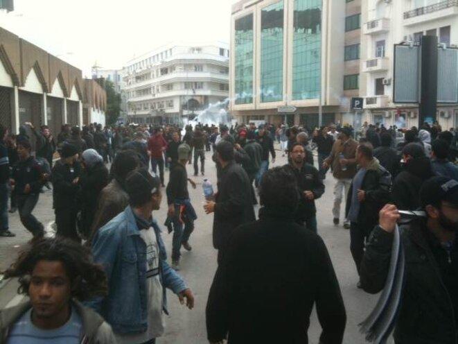 Dans la manifestation vendredi à Tunis © (Thomas Cantaloube)