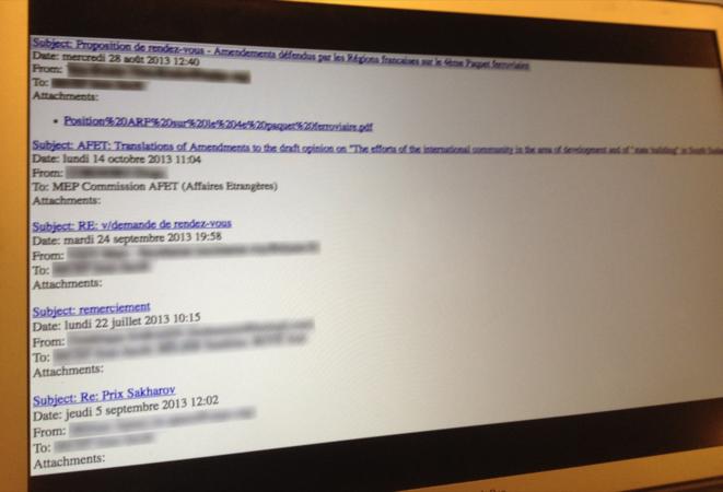 Exemple de mails d'eurodéputés. Cliquer pour agrandir.