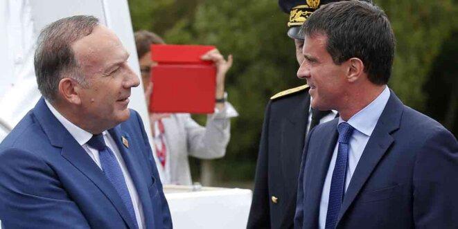 Manuel Valls avec Pierre Gattaz à l'université du Medef, en août 2014