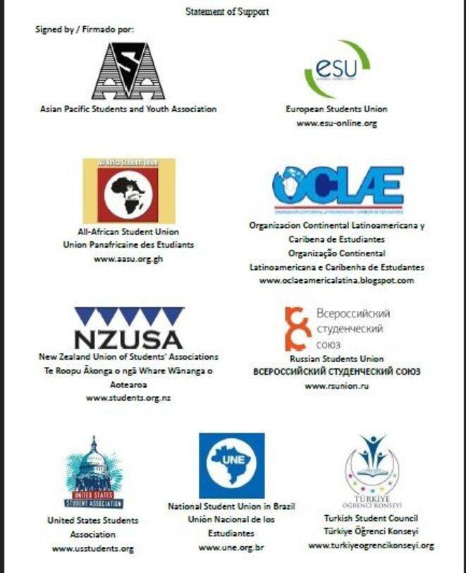 Organisations signatures en soutien avec les étudiants chiliens contre la loi Hinzpeter © Indignés du monde