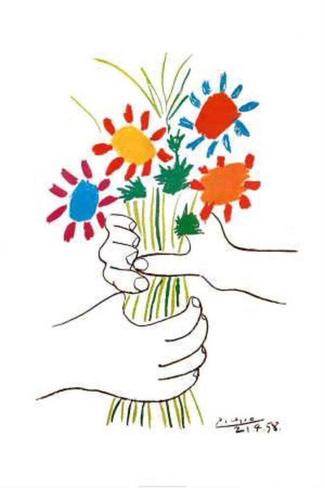 © Pablo Picasso fleurs et mains