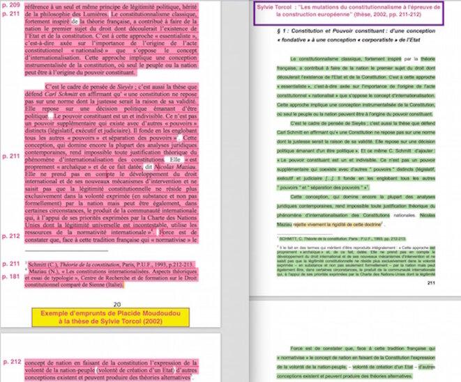Les « insuffisances de citations » : à gauche, l'ouvrage de P. Moudoudou (2012); à droite, la thèse de S. Torcol (2002).