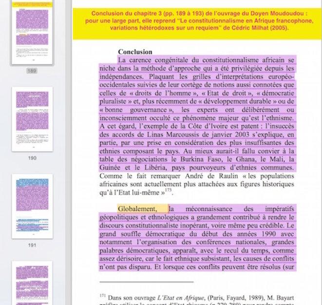 Conclusion du chapitre 3 : en mauve, les emprunts à C. Milhat