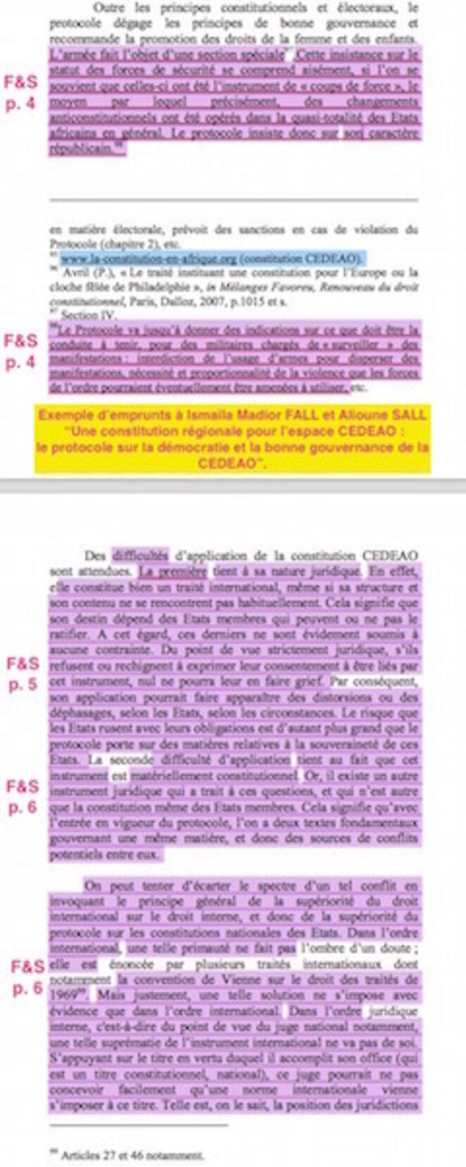 En mauve... les emprunts de P. Moudoudou à I. M. Fall et A. Sall
