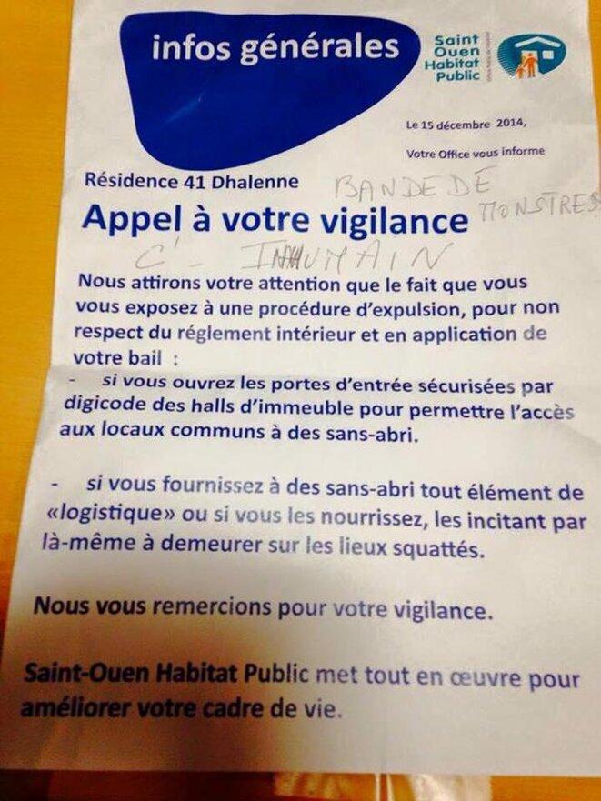 Saint Ouen, décembre 2014 : affiche placardée dans une résidence HLM.