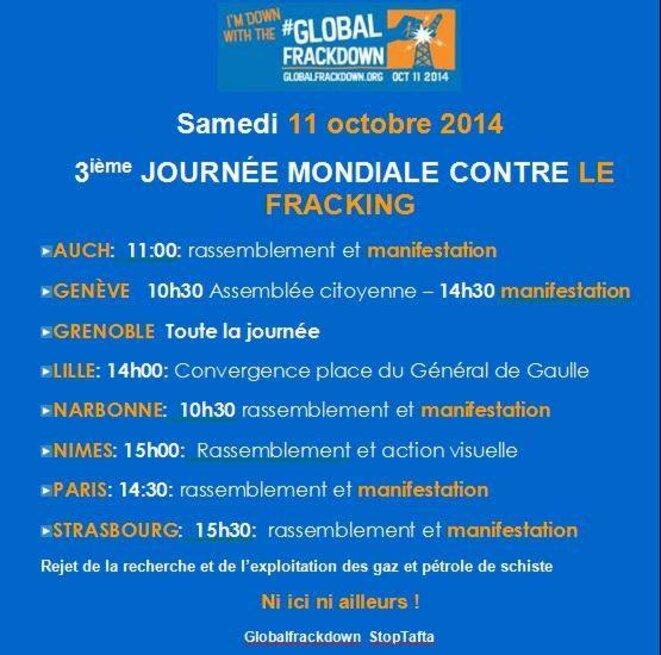 Rendez-vous du Global Frackdown Day en France