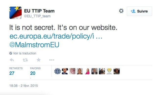 « Ce n'est pas secret, c'est sur notre site »