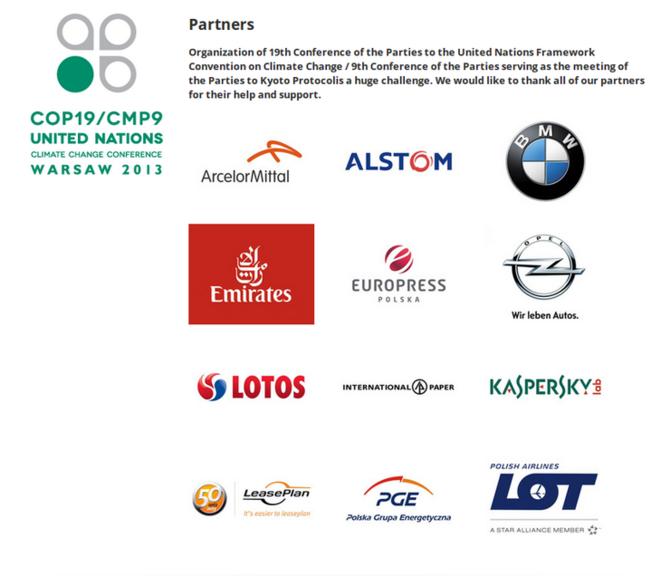 Les sponsors pollueurs de la COP19!