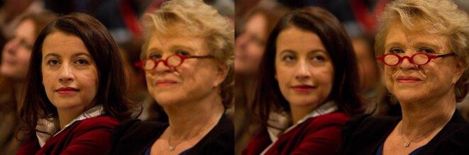 Cécile Duflot & Eva Joly pendant le meeting EELV à Roubaix; 11/02/12. © Thomas Haley