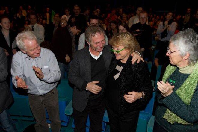 José Bové et Eva Joly lors du meeting publique à Caen le 3/02/12. © Thomas Haley