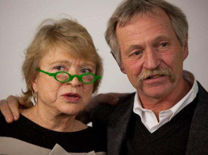 Eva Joly & José Bové lors d'une convention agricole à Caen; le 3/02/12. © Thomas Haley