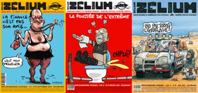 Les trois dernières couvertures du Zélium : la finance mondiale, l'extrême droite, l'écologie.  © Illustrés par Decressac, Troud, Giemsi.