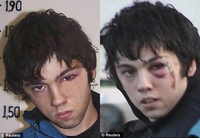 Andreas-Dimitris Bourzoukos, 23 ans, l'un des quatre militants anarchistes torturés par la police. Avant et après...