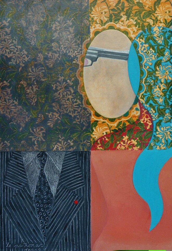 Le patronat, huile-collages, JPA 2008