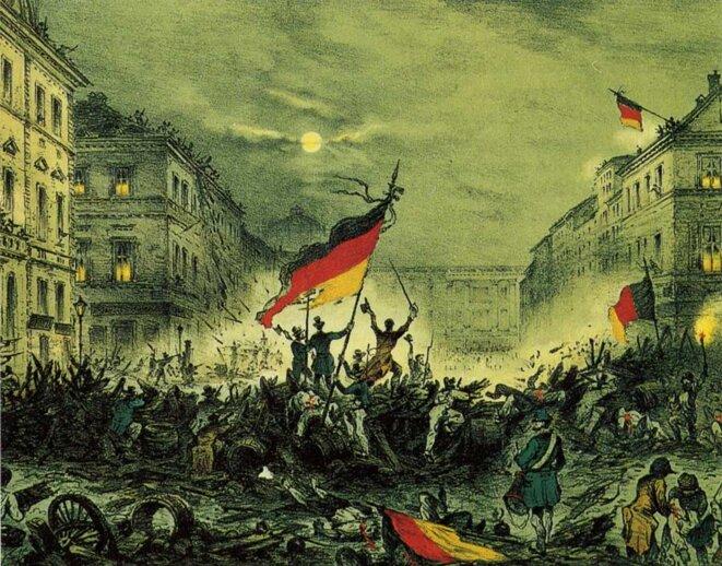 1848 à Berlin. «En 1848, les révolutions ont éclaté simultanément dans cinquante pays différents, de la Vallachie au Brésil.»