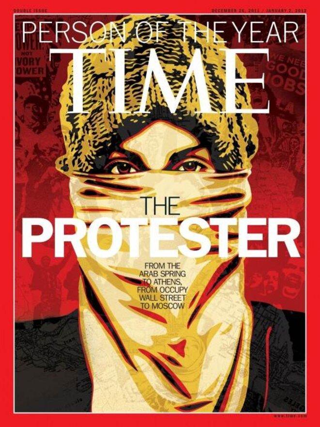 Le manifestant «personnage de l'anneé» pour Time Magazine. «La révolution de 2011 s'est propagée vers le centre impérial.»