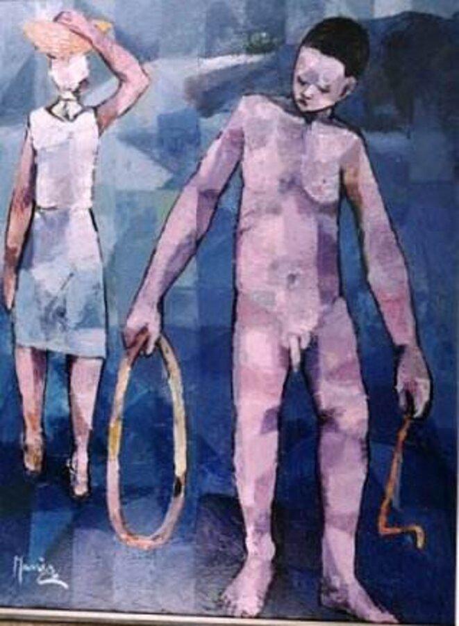 «La vie est un cercle» de Manès Descollines (1978). 48x32, huile sur toile.  © Collection Michel Monnin, photo Bill Bollendorf.