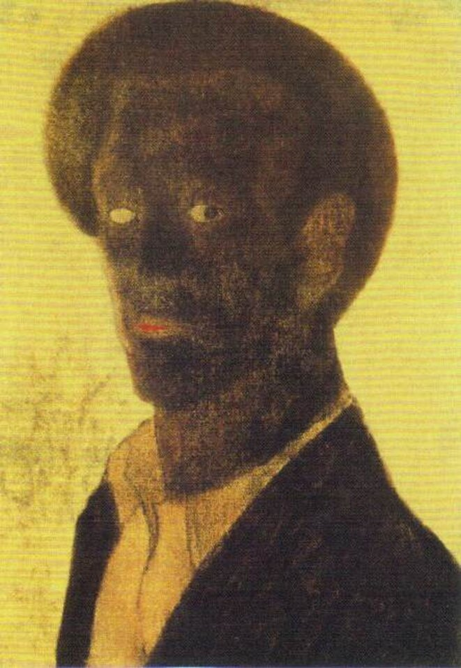 "Lajos Vajda - Huile sur carton, ""Autoportrait noir"", 1935"