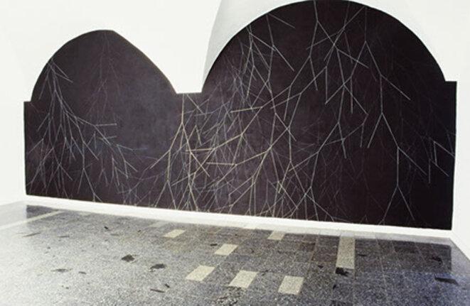Martina Kramer, Propagation, pastel argenté sur mur noir ©  Galeria Miejska, Wrocław, Pologne, 2004